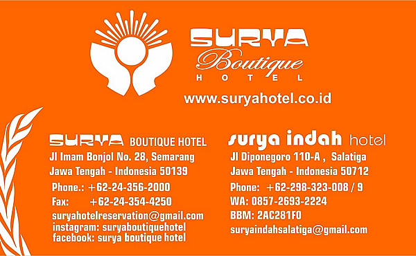 Business card Surya hotel Semarang